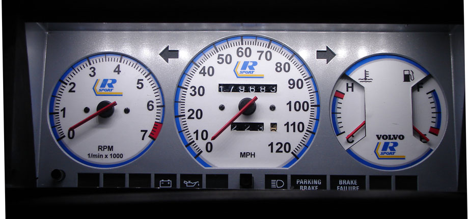 Volvo 240 Instrument Cluster - Volvo Gauges Light Up Really Well Custom Installations In Your Gauges Can Be Done Along With Restored Or Custom Colored Too If Desired - Volvo 240 Instrument Cluster